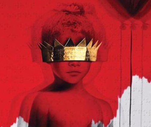 Album cover of Rihanna's album 'Anti'. A little boy wearing a gold-plated eye mask as red paint is falling over him and the wall behind.