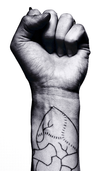A fist. A heart is drawn on the wrist.