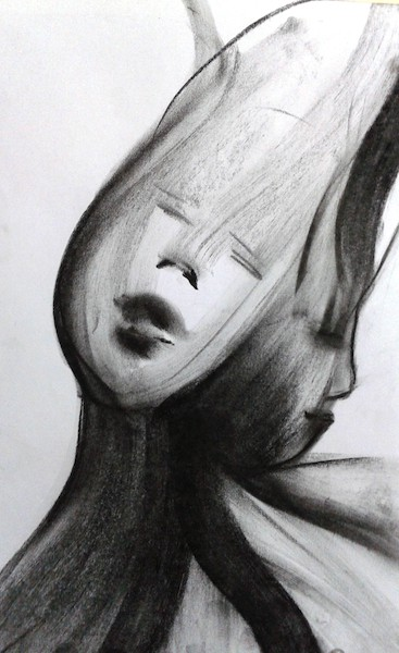 Modern art. Charcoal sketch of two faces sticking out from one body and one head. One look peaceful, the other sad. Screen reader support enabled. Modern art. Charcoal sketch of two faces sticking out from one body and one head. One look peaceful, the other sad.