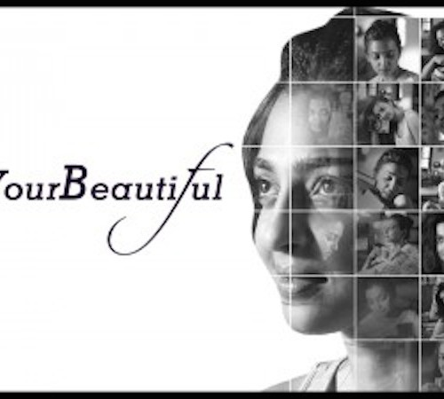 """Black and white photo of actress Radhika Apte, wearing her hair in a bun. Superimposed on her head are several small images of her. On one side of the picture in front of a white background is written in black, """"#FindYourBeautiful"""""""