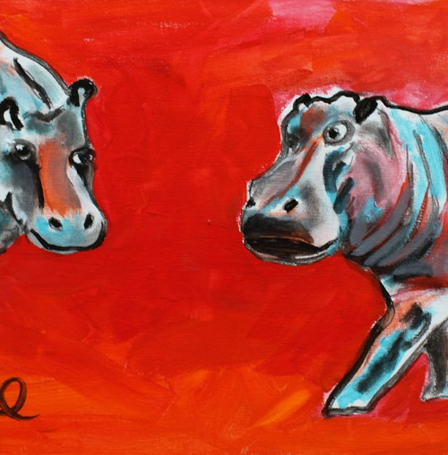 A water-colour drawing of two bull dogs on a red background approaching each other face-to-face with anger.