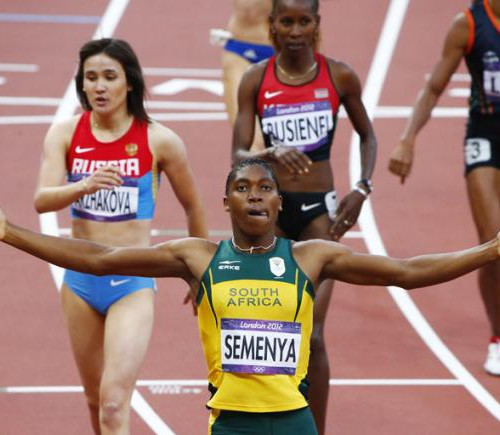 What is the definition of sex: South Africa's Caster Semenya raises her arms after her first place finish in her women's 800m semi-final during the London 2012 Olympic Games.