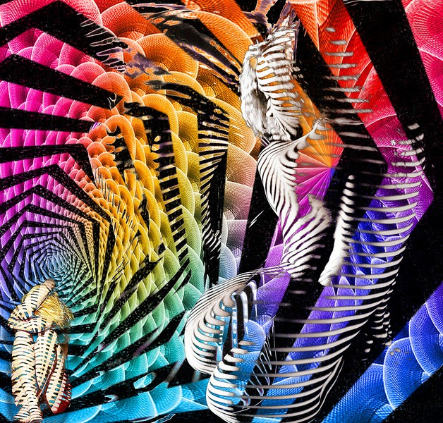 Brightly-coloured abstract art of a never-ending loop growing smaller and smaller in the middle.
