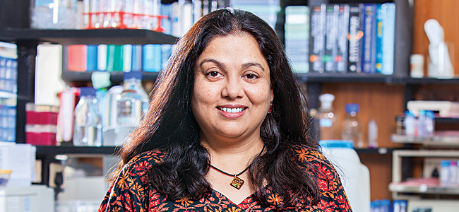 Shubha Tole, Indian neuroscientist, Professor and Principal Investigator at the Tata Institute of Fundamental Research in Mumbai, India, in lab, talking about women in science careers.