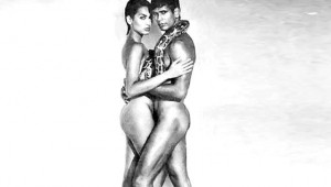 Sexuality in the media: Madhu Sapre and Milind Soman in a Tuff shoes ad.