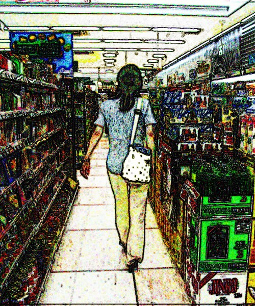 A posterised image of a woman walking down a supermarket isle with a bag slung over