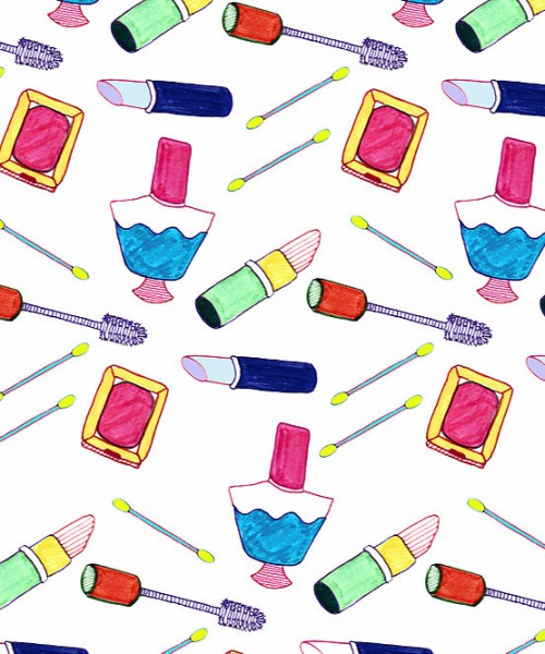 Drawing of lipsticks, nailpolish, eye lash curlers, mirror, and Q-tip scattered everywhere.