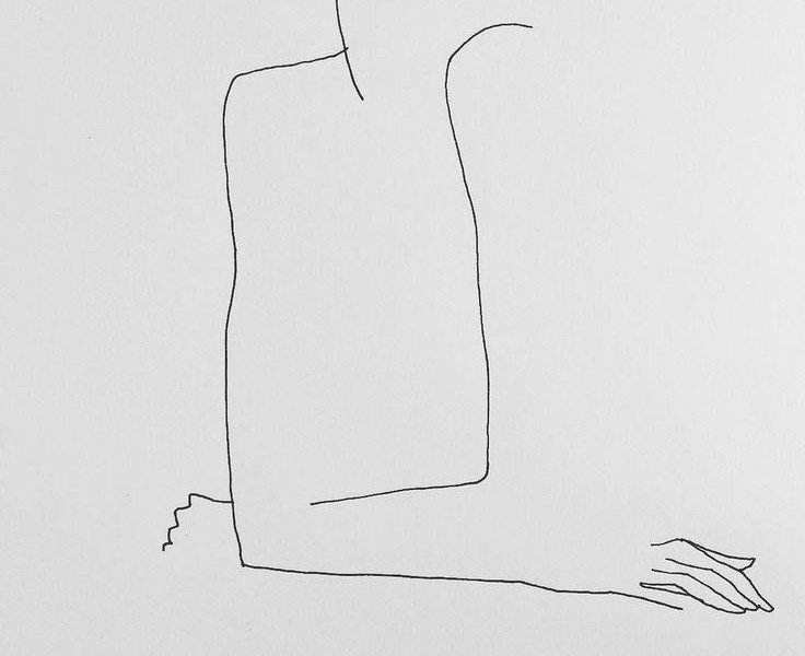 A line drawing of a woman sitting with her elbows on a table.-