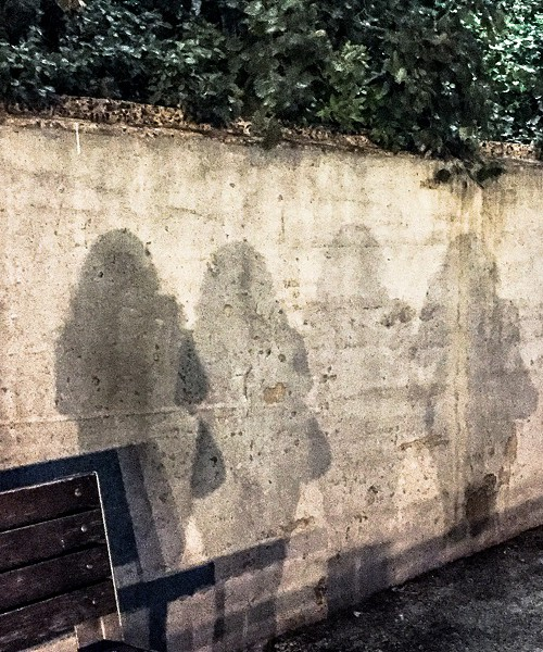 Shadow of a young woman wearing jeans, top, open hair, and carrying a handbag on a near-by wall. There are four same shadows in a line, growign fader and fader.