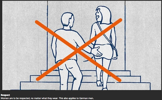 """Illustration of a man touching a woman's butt as she climbs a stair a step ahead of him. Over this is drawn a big orange cross. At the bottom is written in small font, """"Respect: Women need to be respected, no matter what they wear. This also applies to German men."""""""