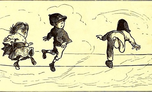 A drawing of three kids jumping from one side to the other of a wire from a telephone tower.