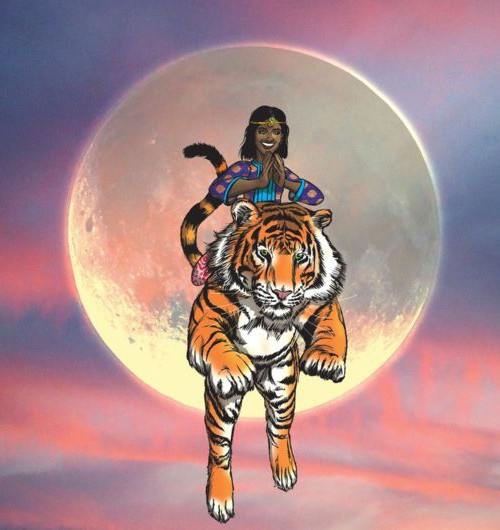A dark-skinned girl riding a tiger. They are in air as the tiger takes a leap - with the Sun right behind them. The sky is orange-blue as in sunset or sunrise.