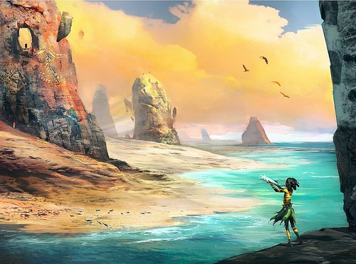 Painting of a little girl holding a big fish in her hand. She is in a big fiery landcape of a water body, sand dunes, and big rocks.