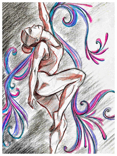 Illustration of a woman in a dance pose of stretching herself up effortlessly. Her one knee is bent up at 90 degree to the waist, chest pointing out, head thrown back downward, and the opposite side arm going up.
