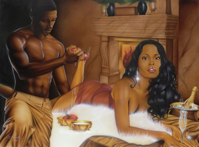 A black man taking off the heels of a woman as she lies on bed on her stomach, wearing red lingeri. He is wearing beige-coloured pants, and is nude above the waist.