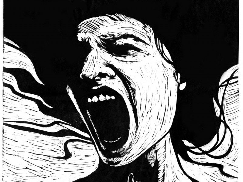 Black-and-white illustration of a woman screaming with her mouth wide open. Screen reader support enabled. Black-and-white illustration of a woman screaming with her mouth wide open.