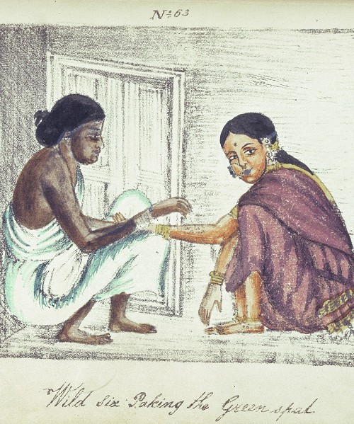 "Painting showing caste differences. Two women squatting, facing each other. One wears a plain white simple saree without a blouse, and has a darker complexion. The other, of fairer complexion, wears a shiny purple saree with blouse, and a big nose ring. Below in cursive is written, ""wild six paking the greenspad""."
