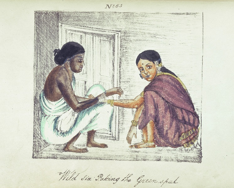"""Painting showing caste differences. Two women squatting, facing each other. One wears a plain white simple saree without a blouse, and has a darker complexion. The other, of fairer complexion, wears a shiny purple saree with blouse, and a big nose ring. Below in cursive is written, """"wild six paking the greenspad""""."""