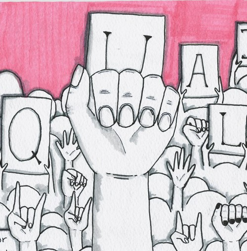"Illustration of several hands raised up from an audience. Some hold placards with individual letters written, that when read together, spells, ""Equality"". One placard reads, ""Fight for""."