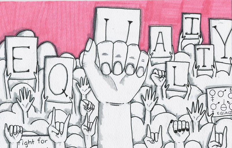 """Illustration of several hands raised up from an audience. Some hold placards with individual letters written, that when read together, spells, """"Equality"""". One placard reads, """"Fight for""""."""