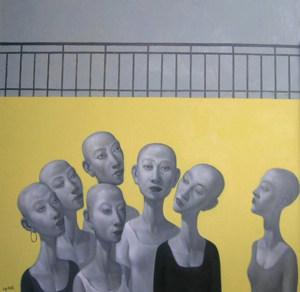 An illustration. Seven almost similar-looking women standing cluless. They are all bald and anorexic.