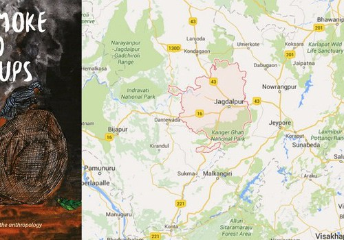 "Collage of 2 pictures. One is a book cover with an illustration of two adivasi men sitting by a fireside on a winter night. On top is written in white, ""Woodsmoke and leafcups."" 2nd picture is the google map of Jagdalpur, near Vishakhapatnam."