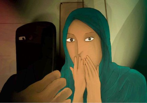 Painting of a woman with her hands covering her mouth in shock, as she looks at a phone screen