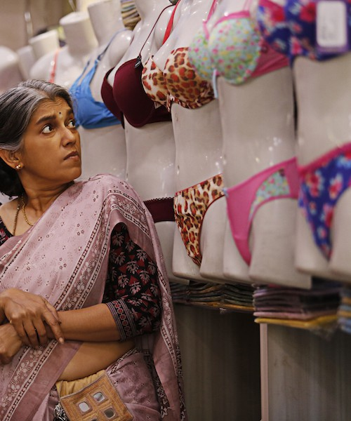 "Still from ""Lipstick Under My Burkha"", showing actress Ratna Pathak Shah in a lingerie store"