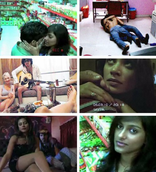 Collage showing stills from various films showing various scenes of sexual relationships