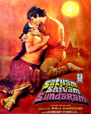 Poster of the film 'Satyam Shivam Sundaram', showing a man dressed in a red shirt caressing a woman dressed in a blouse and lehenga that exposes her midriff