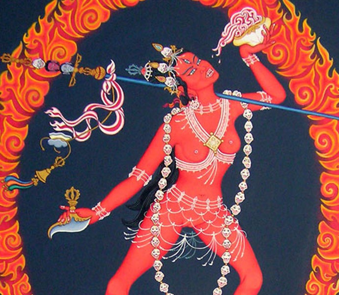 Vajra-yogini, visualised as the powerful goddess - wild and untamed, sexual and violent. Photo credit: Pinterest
