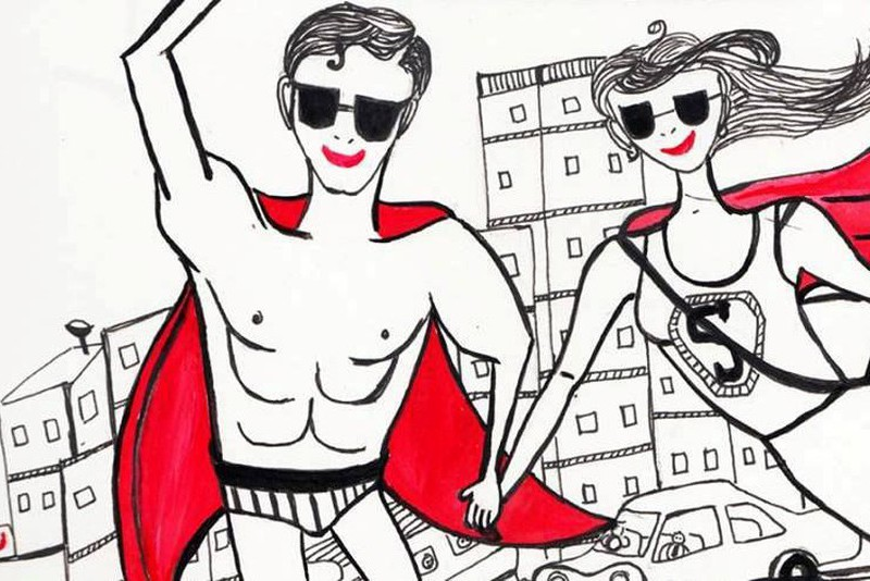 Its cartoon of a guy wearing onky an underwear and a red cape (like superman) and a girl is holding his hand wearing a t-shirt with S written on it, she's also wearing a cape. Both of them are wearing sunglasses.The background of the image features buildings and cars.