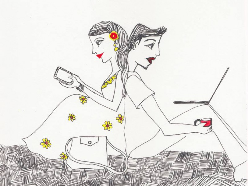 Its a doodle of a girl and boy sitting facing their backs at eachoher. The girl is, wearing a yellow flower dress, looking at her phone. While the boy is using his laptop and has a red cup of coffee in one hand.