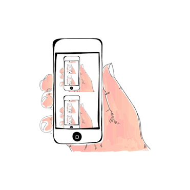 cartoon sketch of a hand holding up a mobile phone; on the screen is pictures of more mobile phones