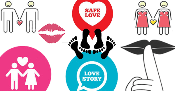 "A poster. Two pairs of feet in black - one facing towards us, another away from us is in the centre. Words ""SAFE LOVE"" and ""LOVE STORY"" are written on wither side. On the top left and right are drawn man-man couple, and woman-woman couple respectively. On bottom left is a man-woman couple. On bottom right is drawn a finger on a lip, in a ""shh"" gesture."