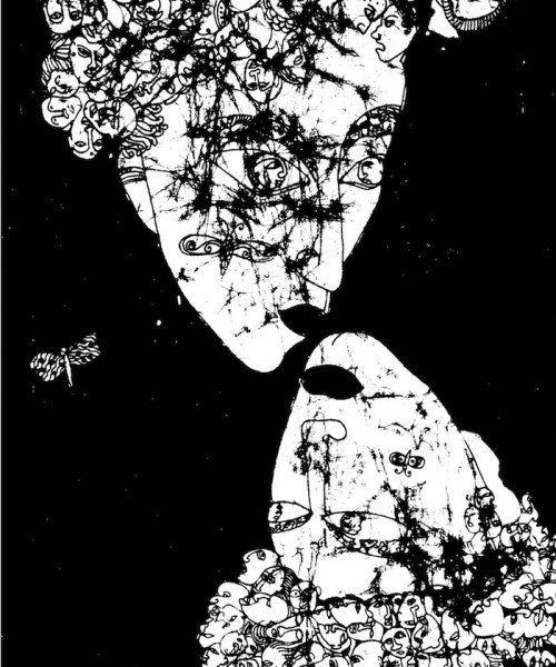 Face of a woman and its mirror image below it in a black and white abstract art.