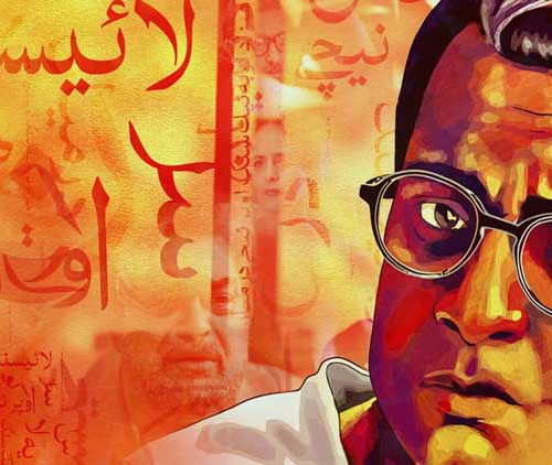 Painting of Saadat Hassan Manto looking anxious, with something in Urdu written in background.