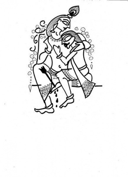 Doodle of two male gods sitting together closely, hugging. One has rested his head on the other's shoulder.