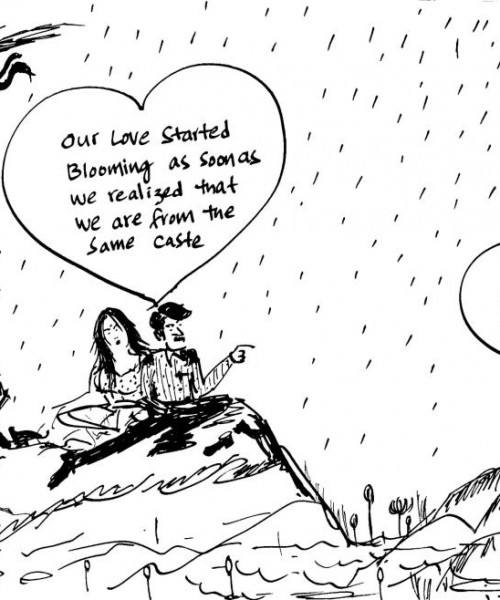 "A cartoon of a man and woman sitting under a falling rain. Inside a heart-shaped bubble is written, ""Our love started blooming as soon as we realised we are from the same caste."""