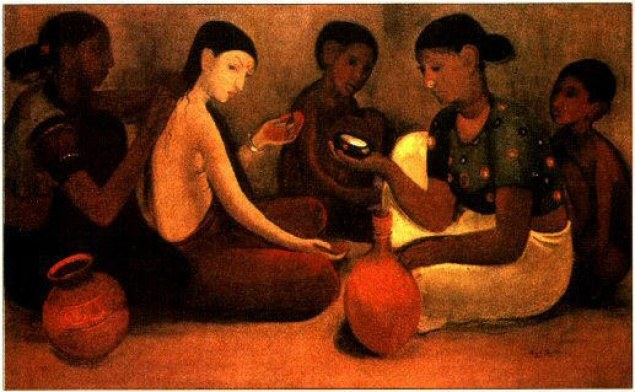 Painting of women sitting cross-legged on a floor, looking dull. They are wearing sarees, or only blouse and petticoats.