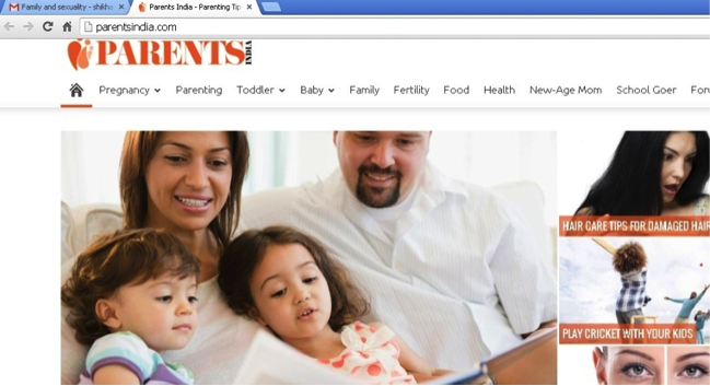 Screenshot of the homepage of the Parents India website. A photo of parents reading to their two kids is visible.