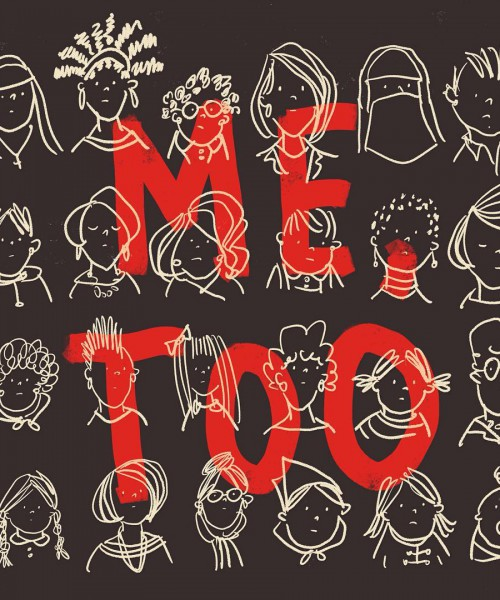 "Several faces of girls have been doodled in white ink on a black paper. In big, bold, red letters is written ""ME TOO"" in background of the paper."
