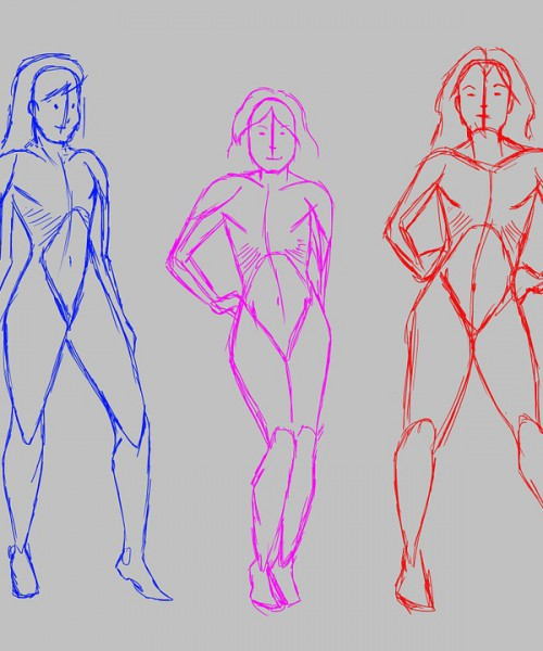 Sketches of three girls side-by-side as if walking on a ramp.