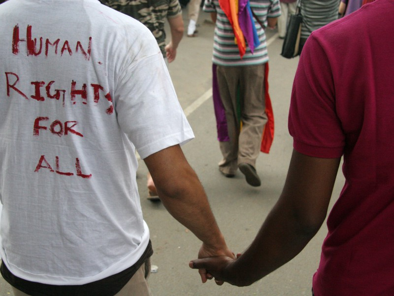 "Photo from a queer pride march. We can see the back of two men holding hands. On the back of one's tee shirt is witten ""Human rights for all"" in caps by a red marker. The photo is cropped such that we can see only their torso and hands. In the background we can see more people walking in the march."