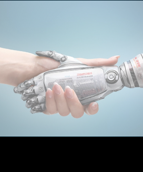 A human and a robot shaking hands. Only see the hands and arms of both is seen.