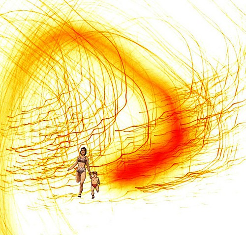 Illustration of a woman and a child running, against an abstract yellow background