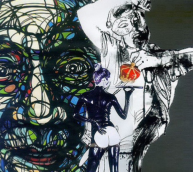 A sketch of a woman's face, covered in multi-coloured strings. In front of it, there's a black and white outline of a figure with a mask on and holding up a microphone. In front of both figures, is the figure of a smaller woman, holding up a tray and facing behind.