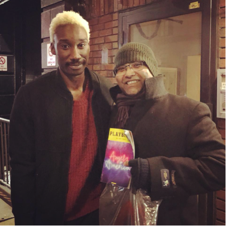 Debanuj DasGupta with Mathew Stuart Jarret. Stewart Jarret plays the character of Belize in the play & the Bethesda Fountain is one of the key Manhattan sites recreated on stage for the play Angels in America.