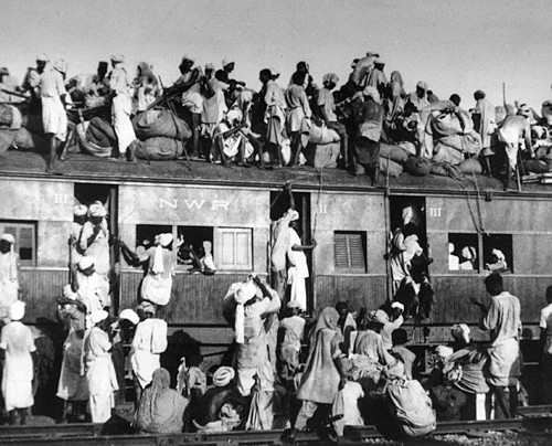 Photo of a group of people on a train, from the partition of India