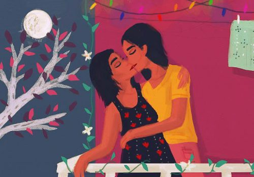 Description: Two people are kissing on a balcony. Their eyes are closed and they are holding each other. Behind them, we see a purple wall, a string of lights and a clothes line, and to the left there is a full moon and a tree. Credit: Upasana Agarwal.